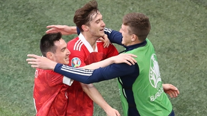 Russia's Aleksey Miranchuk (C) celebrates scoring with his team-mates