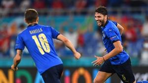 Locatelli celebrates with midfield colleague Nicolo Barella