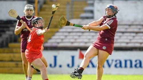 Sarah Healy (R) makes a clearance against Cork last weekend
