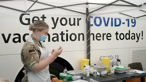 Army medic staffing a rapid vaccination centre for the public in Bolton