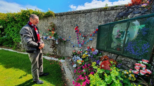 Seosamh O'Maolchroin laid a wreath at the burial ground on the site of the Tuam mother-and-baby home