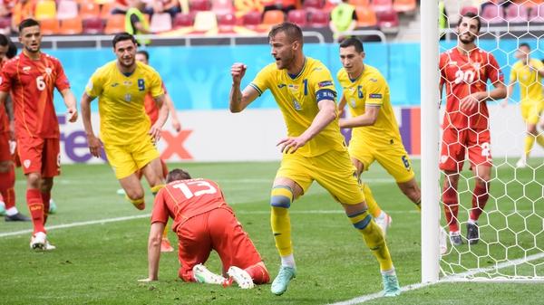 Andriy Yarmolenko put Ukraine in front against North Macedonia