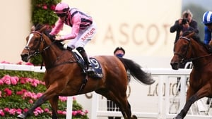 Robert Havlin on board Loving Dream on their way to winning the Ribblesdale Stakes