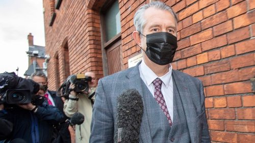 Edwin Poots leaves the DUP headquarters after a meeting of the party officers