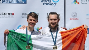 Fintan McCarthy and Paul O'Donovan after winning gold medals at the 2021 World Rowing World Cup II in May