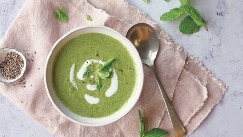 Pea, bacon and mint soup from Trisha's 21-Day-Reset.