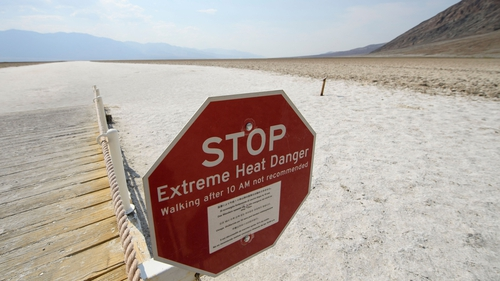 Signage warns of extreme heat danger inside Death Valley National Park, California