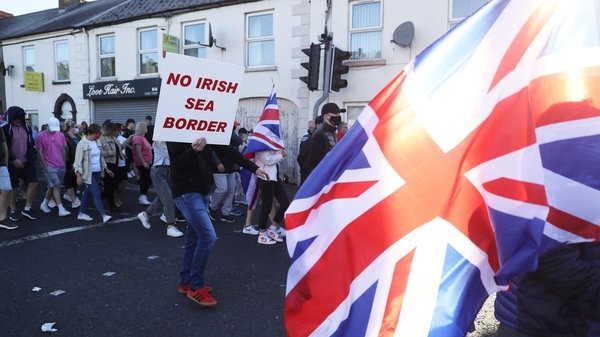 People take part in a Loyalist protest in Newtownards, Co Down
