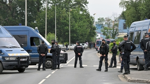 French police in Redon after they broke up an illegal rave