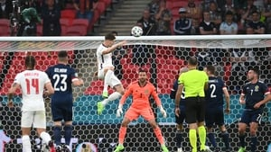 John Stones saw his headed effort rebound off the post in England's draw with Scotland