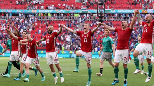 Hungary players celebrate after their 1-1 draw with France in Budapest