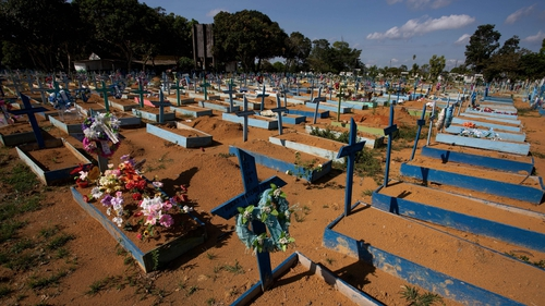 A graveyard for victims of Covid-19 in Brazil pictured earlier this year