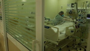 A patient with Covid-19 is treated in the ICU of the Municipal Hospital of Parelheiros in Sao Paulo