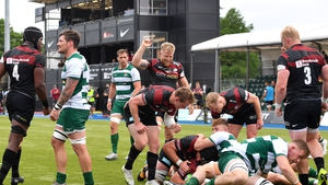 Saracens' Tom Woolstencroft is awarded a try