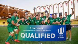 The Ireland team celebrate their victory in Monaco