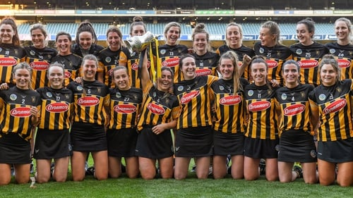 Kilkenny captain Meighan Farrell and her team-mates celebrate with the cup