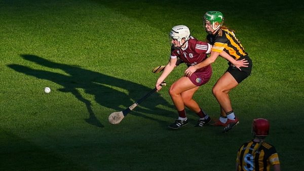 Collette Dormer of Kilkenny tackles Galway's Catherine Finnerty during the League final