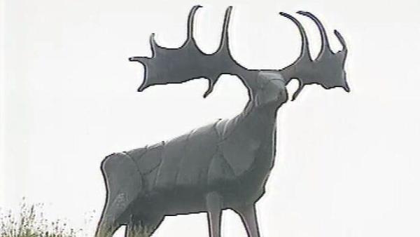 Bronze Elk sculpture by Kevin Holland, Cork-Mallow Road (1996)