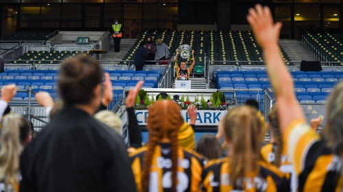 Mary O'Connell lifts the cup after December's All-Ireland Senior Camogie Championship final