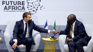 French President Emmanuel Macron and South African President Cyril Ramaphosa
