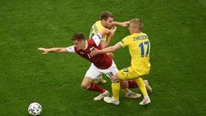 Christoph Baumgartner of Austria battles for possession with Oleksandr Zinchenko of Ukraine