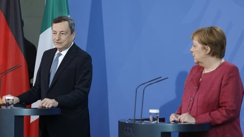 Italian Prime Minister Mario Draghi pictured with German Chancellor Angela Merkel