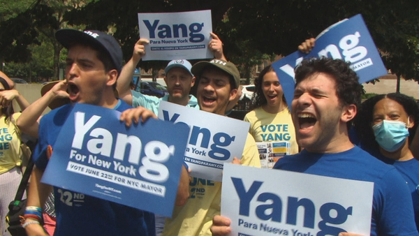Supporters of mayoral candidate Andrew Yang on the campaign trail in the Bronx