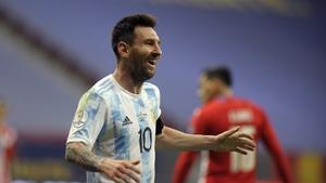 Messi celebrates Alejandro Gomez's goal against Paraguay