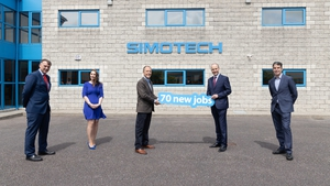 Pictured with Taoiseach Micheál Martin at SimoTech's Carrigaline HQ are Martin Corkery, Regional Director at Enterprise Ireland; Aishlyn Kerr, Talent Acquisition Lead at SimoTech; Pat Desmond, CEO at SimoTech and Brian Clune, Head of Talent Management