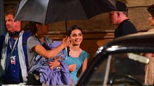 Rachel Zegler, seen here filming West Side Story in New York in August 2019