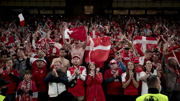 Danish fans celebrating their victory over Russia in Euro 2020
