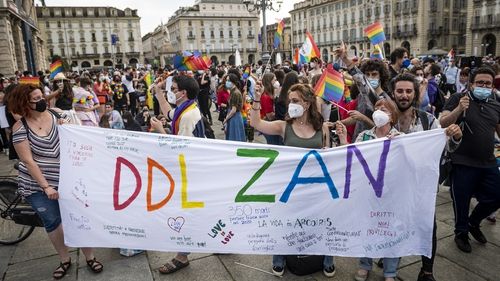 Demonstrators in Turin, Italy calling for the approval of the so-called Zan law