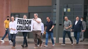Catalan separatists Jordi Turull, Jordi Cuixar, Joaquim Forn, Josep Rull, Raul Romeva and Oriol Junqueras leave Lledoners jail