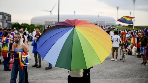 There were plenty of rainbow flags on display outside the Allianz Arena in Munich this evening where Germany play Hungary