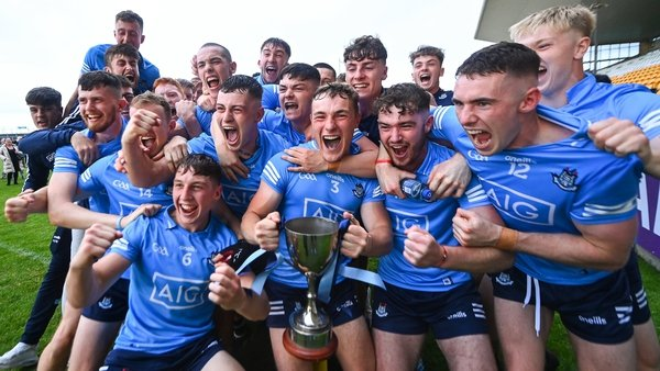 Ecstatic Dublin players celebrate their win in the provincial decider
