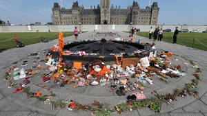A memorial for children who died in residential schools on Parliament Hill in Ottawa