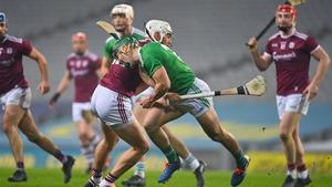 Galway's Jason Flynn tackles Sean Finn of Limerick during the 2020 All-Ireland semi-final