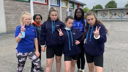 Sixth class pupils strike a pose