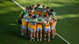 The Offaly starting 15 in a huddle before the Division 3 league final