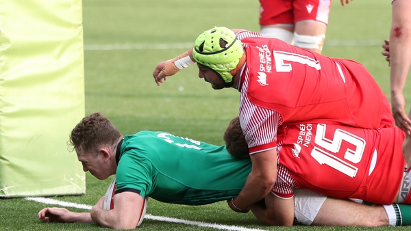 Cathal Forde scoring the first try of the game