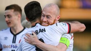 Patrick Hoban of Dundalk celebrates with Chris Shields after scoring Dundalk's second