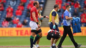 Alun Wyn Jones leaving the field after picking up an injury against Japan