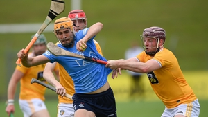 Ronan Hayes of Dublin in action against Antrim's Eoghan Campbell.