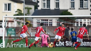 Ryan De Vries celebrates after scoring Sligo's third goal