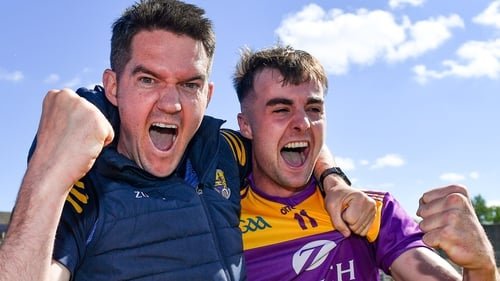 Shane Roche and Seán Nolan celebrate after the final whistle