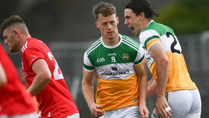Niall McNamee (right) celebrates after scoring Offaly's second goal
