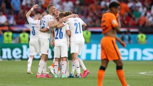 Tomas Soucek, Michal Sadilek and Alex Kral celebrates their side's victory