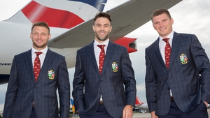 New Lions captain Conor Murray (c) with Dan Biggar (l) and Owen Farrell as the team departed