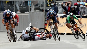 The sprint finish led to a nasty crash inside the final metres of the third stage