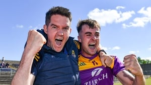 Shane Roche and Sean Nolan celebrating after Wexford's first Leinster championship win in seven years